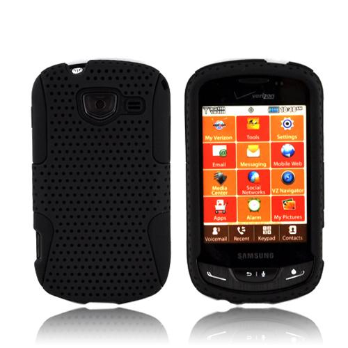 Samsung Brightside Hard Back Case Cover on Silicone - Black Mesh on Black