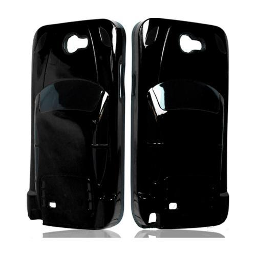 Black Car Hybrid Case w/ Raised Look for Samsung Galaxy Note 2