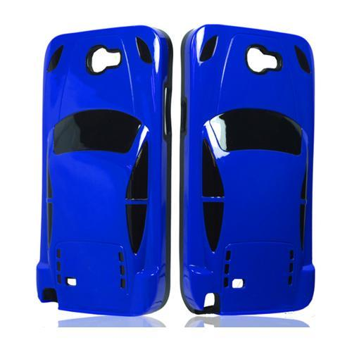 Blue/ Black Sports Car Hybrid Case w/ 3D Features for Samsung Galaxy Note 2