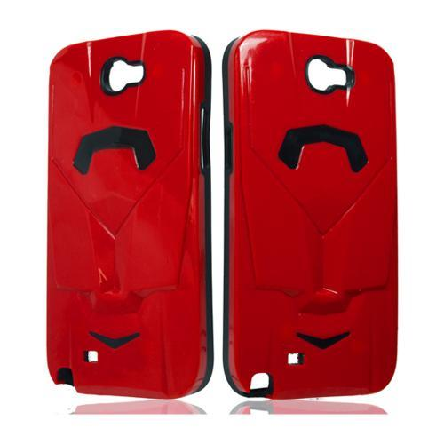 Red/ Black Car Hybrid Case w/ Raised Look for Samsung Galaxy Note 2