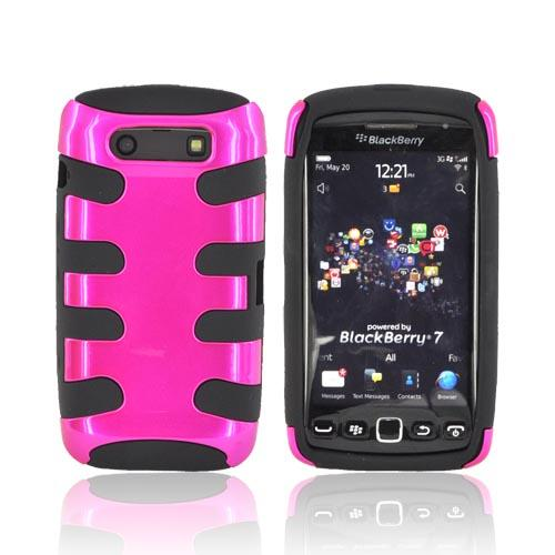 Blackberry Torch 9860 9850 Hard Fishbone on Silicone Case - Hot Pink/ Black