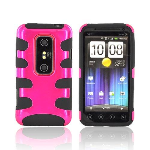 HTC EVO 3D Hard Rubberized Fishbone on Silicone Case - Hot Pink/ Black