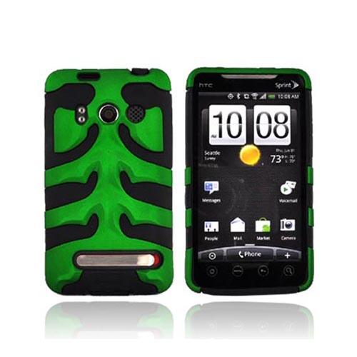 HTC EVO 4G Hard Rubberized Fish Bone on Silicone Case - Green on Black