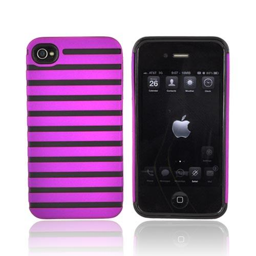 Apple iPhone 4 Rubberized Striped Shell on Crystal Silicone Case - Deep Magenta
