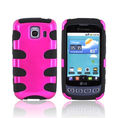 LG Optimus S LS670 Hard Rubberized Fishbone on Silicone Case - Hot Pink on Black