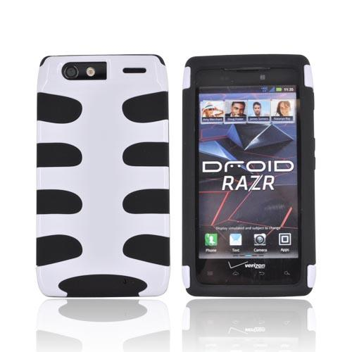 Motorola Droid RAZR Hard Fishbone on Silicone Case - White/ Black