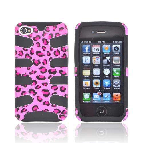 AT&T/ Verizon Apple iPhone 4, iPhone 4S Hard Fishbone on Silicone Case - Hot Pink/ Black Leopard on Black