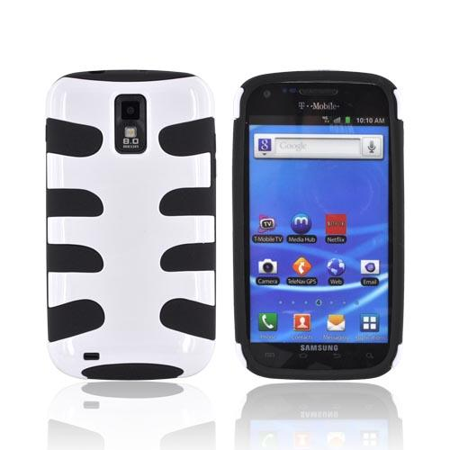 T-Mobile Samsung Galaxy S2 Hard Fishbone on Silicone Case - Solid White/ Black