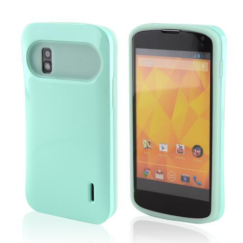 Light Aqua Hard Case on Aqua Glow in the Dark Silicone Case for LG Nexus 4