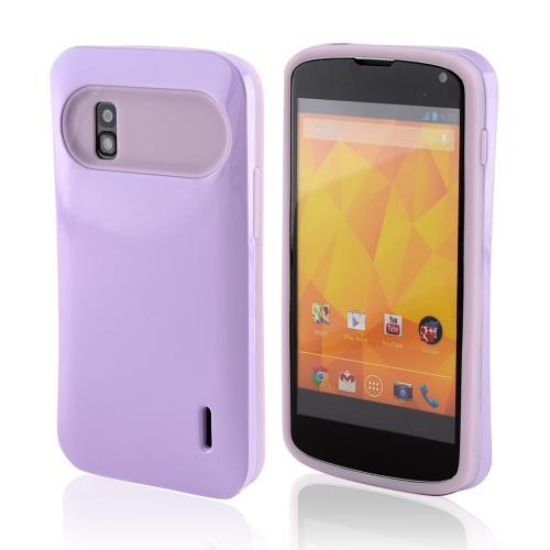 Lavender Hard Case on Lavender Glow in the Dark Silicone Hybird Case for LG Nexus 4