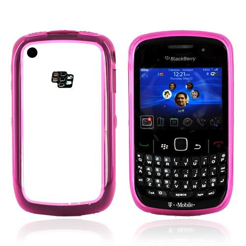 Blackberry Curve 3G 9330, 9300, 8520, 8530 Hard Back w/ Gummy Crystal Silicone Lining - Solid White/Transparent Magenta