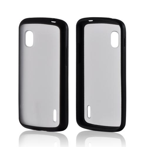 Black/ Clear Hard Back w/ Matte Silicone Border for LG Google Nexus 4