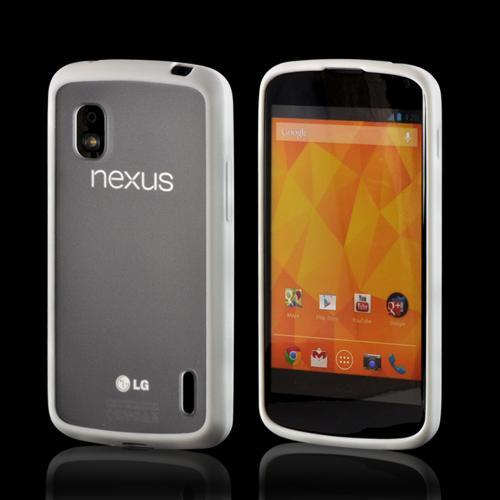 White/ Clear Hard Back w/ Matte Silicone Border for LG Google Nexus 4