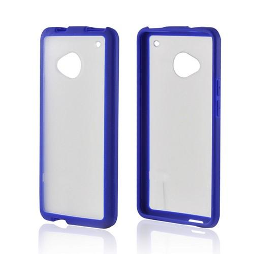 Clear/ Blue Hard Back Case w/ Gummy Crystal Silicone Lining for HTC One