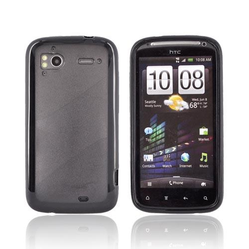 HTC Sensation 4G Hard Case w/ Gummy Silicone Border - Black/ Smoke