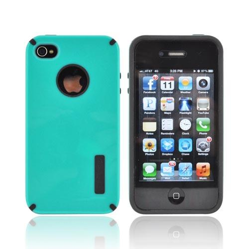 AT&T/ Verizon Apple iPhone 4, iPhone 4S Hybrid Hard Case w/ Silicone Lining - Aqua/ Black Truffle