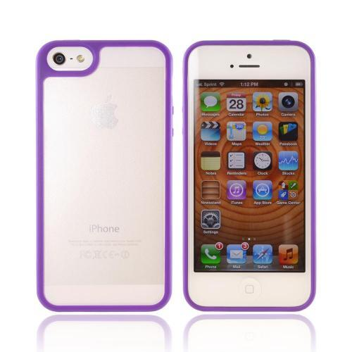 Apple iPhone 5/5S Hard Case w/ Gummy Silicone Border - Purple/ Frost White