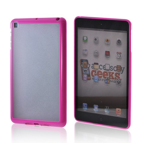 Apple iPad Mini Hard Back w/ Crystal Silicone Border - Hot Pink/ Clear