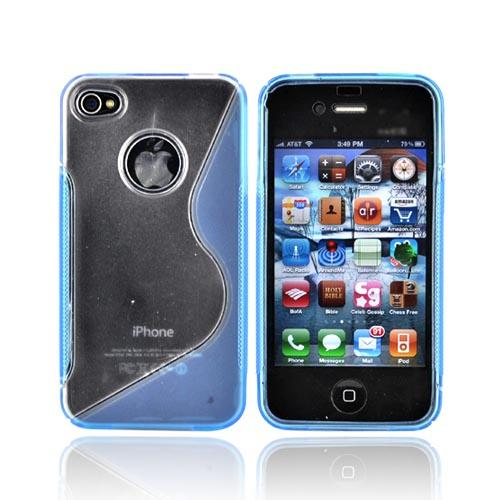 Apple Verizon/ AT&T iPhone 4, iPhone 4S Hard Back w/ Gummy Crystal Silicone Lining - Blue and Clear