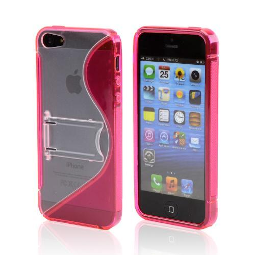 Apple iPhone 5/5S Hard Back w/ Crystal Silicone Lining & Kickstand - Hot Pink/ Frost White