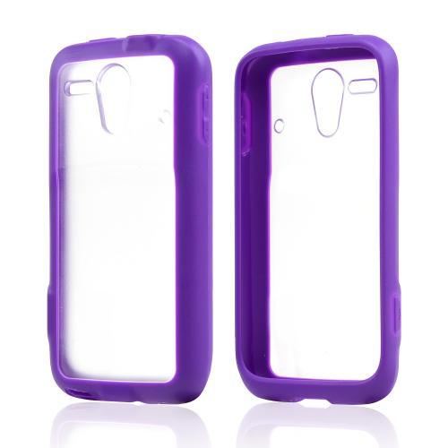 Clear Hard Back w/ Purple Crystal Silicone Border for Kyocera Hydro Edge
