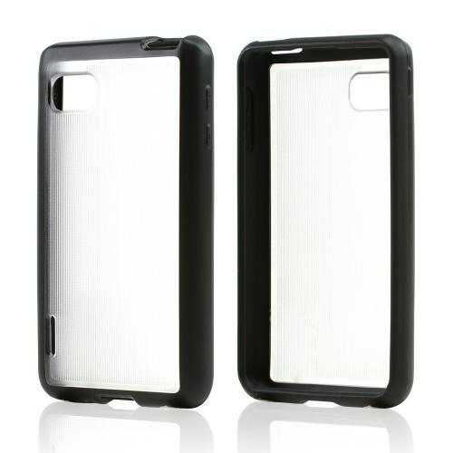 Clear Hard Back w/ Black Crystal Silicone Skin Border for LG Optimus F3