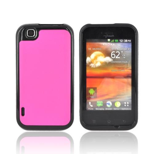 T-Mobile MyTouch Hard Back Case w/ Crystal Silicone Border - Hot Pink/ Black