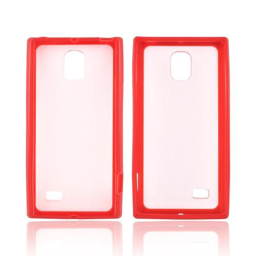LG Optimus VS930 (Optimus LTE II) Hard Back Case w/ Gummy Crystal Silicone Lining - Red/ Frost White