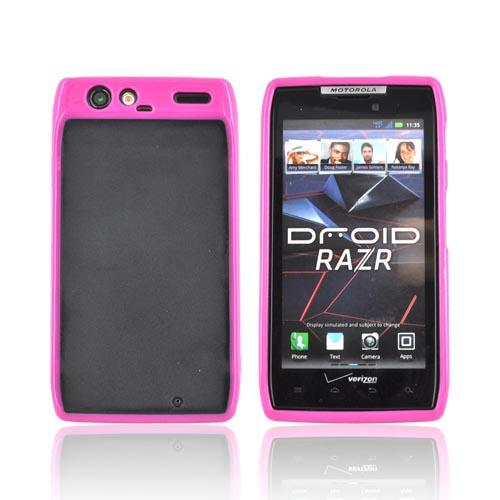 Motorola Droid RAZR Hard Back w/ Gummy Silicone Border - Hot Pink/ Black