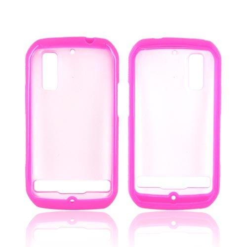 Motorola Photon 4G Hard Back Case w/ Gummy Silicone Lining - Hot Pink/ Clear