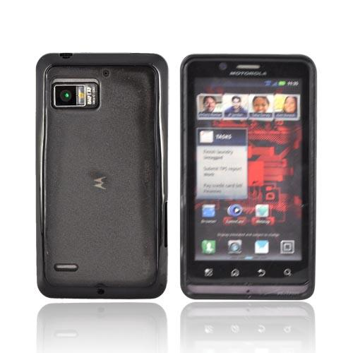 Motorola Droid Bionic XT875 Hard Back w/ Gummy Silicone Border Case - Black/ Smoke