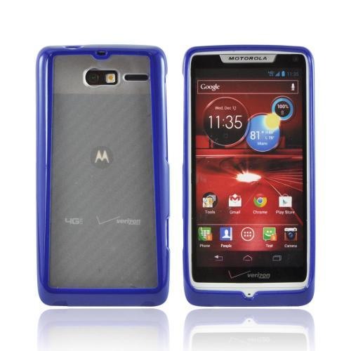 Motorola Droid RAZR M Hard Back Case w/ Gummy Crystal Silicone Lining - Blue/ Frost White