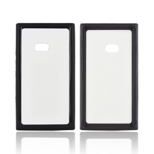 Nokia Lumia 900 Hard Case w/ Gummy Silicone Border - White/ Black