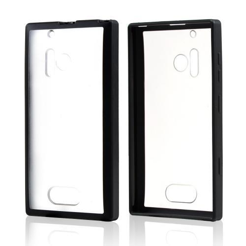 Clear Hard Back w/ Black Crystal Silicone Border for Nokia Lumia 928