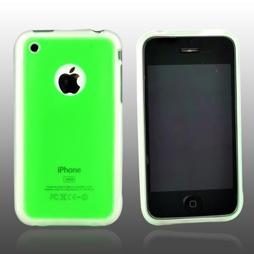 Apple iPhone 3G 3GS Hard Back w/ Gummy Crystal Silicone Lining - Transparent Green/Clear