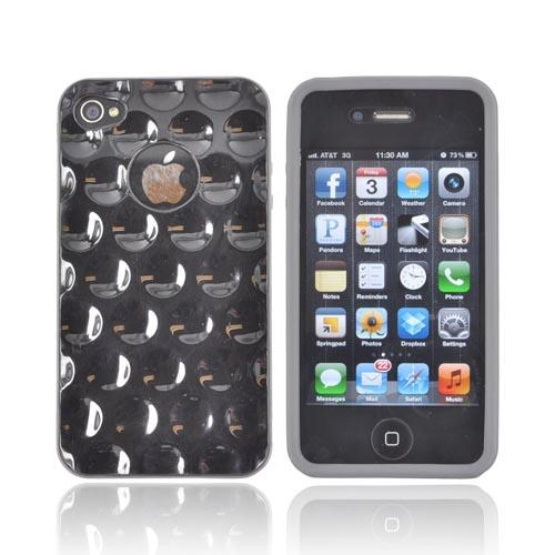 AT&T/ Verizon Apple iPhone 4, iPhone 4S Dimpled Hard Back w/ Crystal Silicone Border Case - Black/ Gray