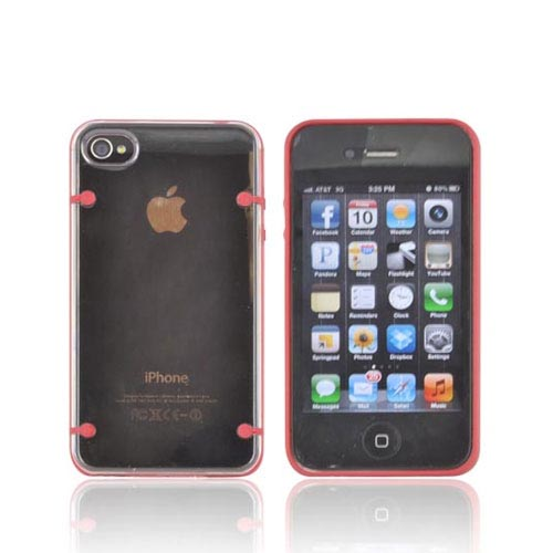 AT&T/ Verizon Apple iPhone 4, iPhone 4S AquaFlex Hybrid Hard Case w/ Crystal Silicone Border & Screen Protector - Red/ Clear