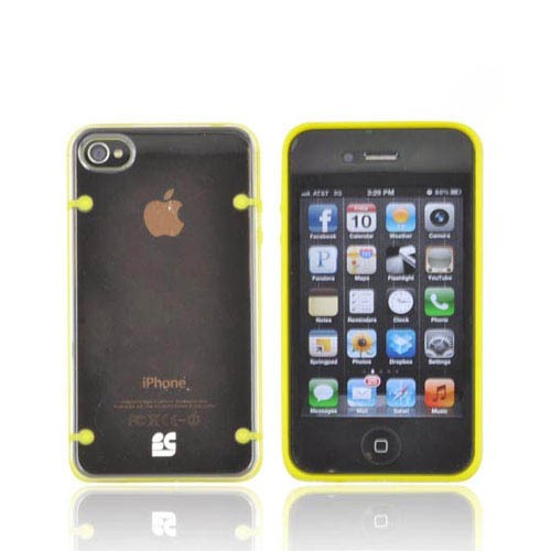AT&T/ Verizon Apple iPhone 4, iPhone 4S AquaFlex Hybrid Hard Case w/ Crystal Silicone Border & Screen Protector - Yellow/ Clear