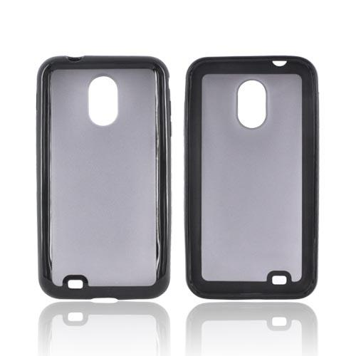 Samsuing Epic 4G Touch Hard Back Case w/ Gummy Crystal Silicone Border - Black/ Smoke