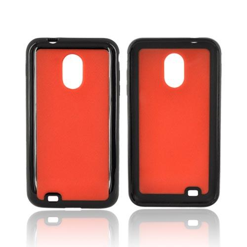 Samsung Epic 4G Touch Hard Back w/ Gummy Silicone Border Case - Orange/ Black