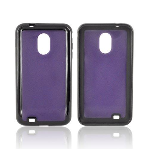 Samsung Epic 4G Touch Hard Back w/ Gummy Silicone Border Case - Purple/ Black