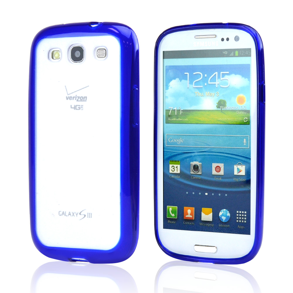 Samsung Galaxy S3 Hard Back w/ Gummy Silicone Border Case - Blue/ Frost White