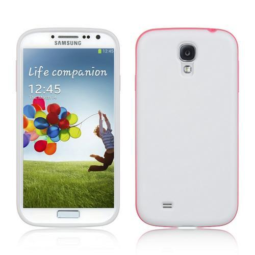 Matte White Crystal Silicone Case w/ Hot Pink Lining for Samsung Galaxy S4