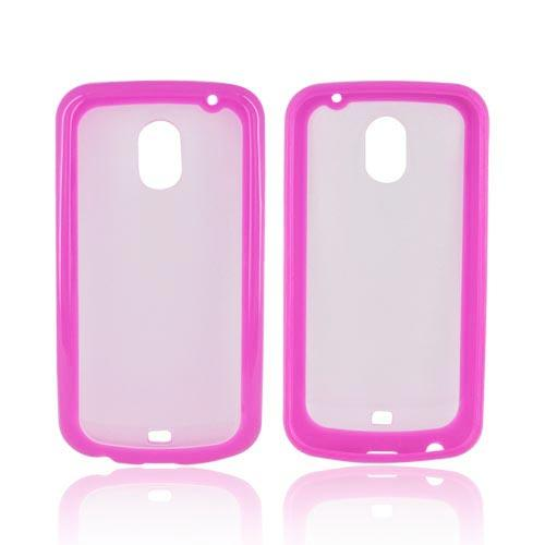 Samsung Galaxy Nexus Hard Back w/ Crystal Silicone Border - Hot Pink/ Frost White