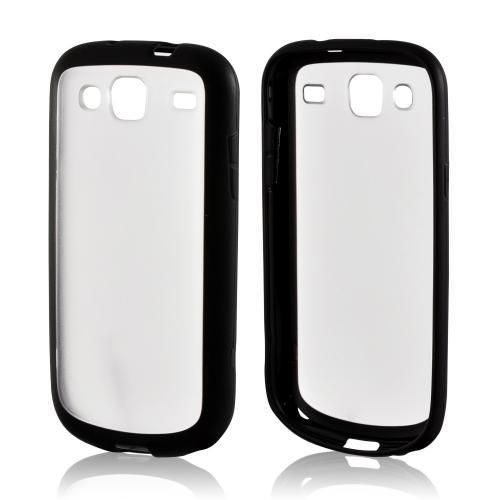 Black/ Clear Hard Back Case w/ Gummy Crystal Silicone Lining for Samsung Stratosphere 3