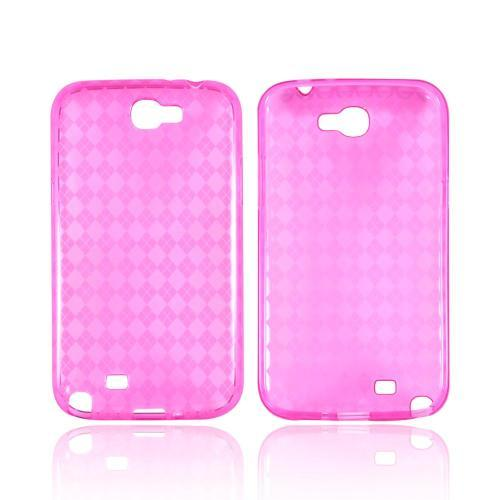 Samsung Galaxy Note 2 Crystal Silicone Case - Argyle Hot Pink