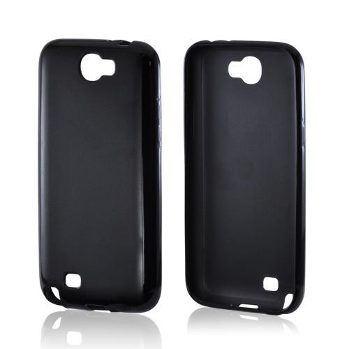 Black Hard Case w/ Crystal Silicone Borders for Samsung Galaxy Note 2