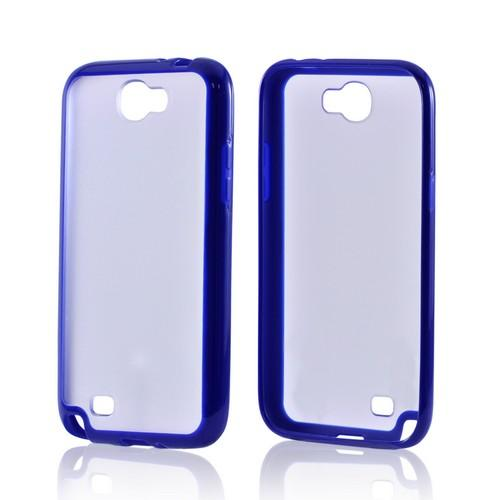 Samsung Galaxy Note 2 Hard Back w/ Gummy Silicone Border Case - Blue/ Clear