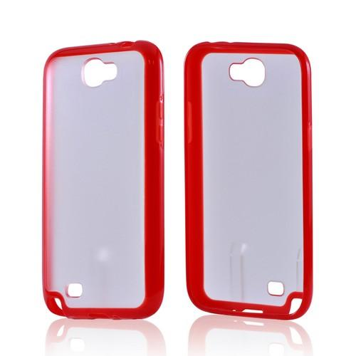 Samsung Galaxy Note 2 Hard Back w/ Gummy Silicone Border Case - Red/ Clear