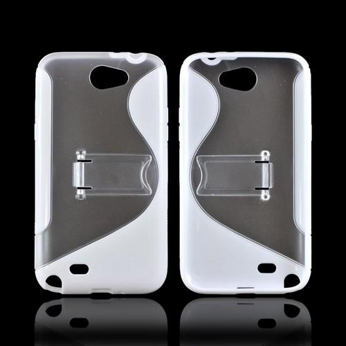 Samsung Galaxy Note 2 Hard Case w/ Gummy Border & Stand - White/ Frost White